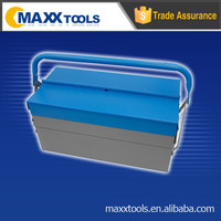 Empty truck tool box,blue and grey metal box