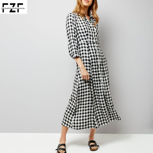 Hot selling products women winter long sleeve check print long dress