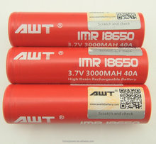 AWT 18650 3000mah 40a lithium battery rechargeable battery for ecig li-ion 3.7v rechargeable gp battery