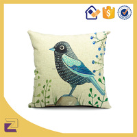 Vivid Teal Bird Pattern Cotton Linen Throw Pillow Case Cushion Cover for Home Decor