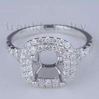 Pave Setting Jewelry Cushion Cut 7mm Solid Platinum PT900 Natural Diamond Engagement Ring Semi Mount Gold Ring SR00232
