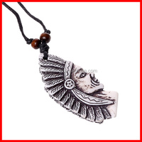 Indian Jewelry Indians Face Pendant Cow Bone Necklace 2015 Hot Selling Costume Jewelry