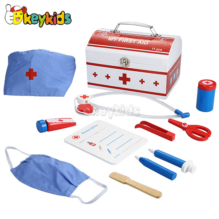 2016 wholesale baby wooden doctor toy set, role play kids wooden doctor toy set, funny children wooden doctor toy set W10D111
