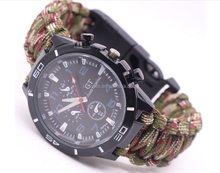 Outdoor Climbing Watch Hand Made Multi Functional Watch Bracelet Seven-core umbrella rope Compass fountain bracelet