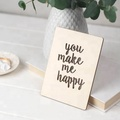 You Make Me Happy wood wedding card wood business card blank