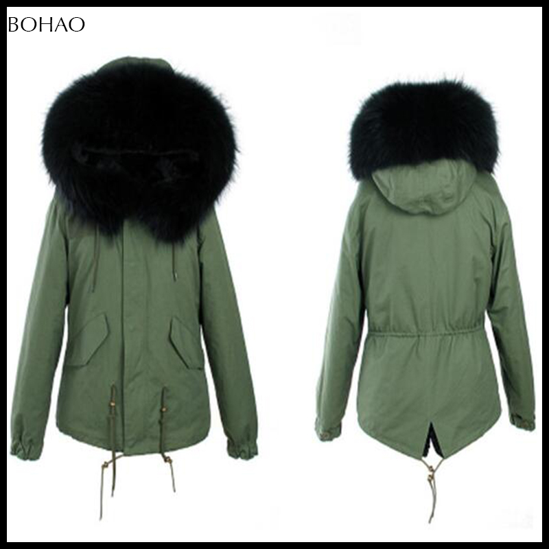 2016 newest khaki fur jacket with fur trim and big fox fur collar women winter jackets