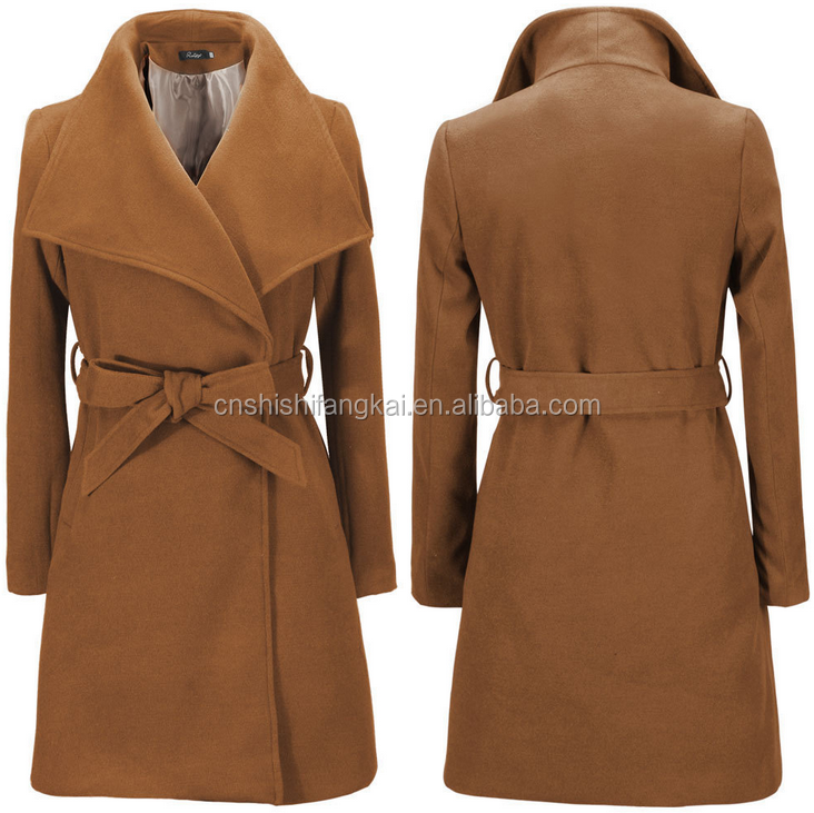 Women's Cashmere Coat 2016 New Fashion Autumn Winter Wool Coat Loose Long Coat Korea New Belted Female Casual Overcoat factory