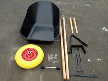 Big wheelbarrow with wooden handle and plastic tray