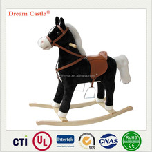 Medium size 74x33x62(cm) black & white plush rocking horse on wheels with music