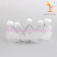 White Feather Ball Cheap Fancy Head Crown for Sale