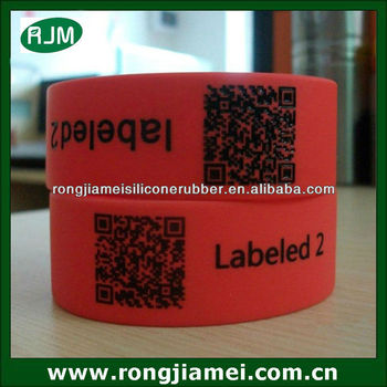 Custom silicone ID bracelet QR code wristband engraved