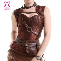 Burlesque Brown Brocede & Leather Full Body Steampunk Corset Plus Size Gothic Clothing