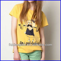 online shopping 2015 high quality yellow women print t shirt cheap