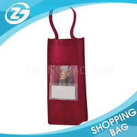 For Promotion With Clear Window Non Woven Christmas Wine Gift Bag