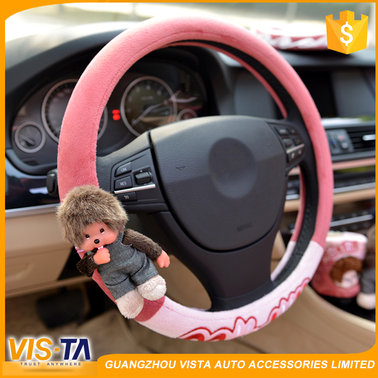 Wholesale custom winter warm fabric car steering wheel cover