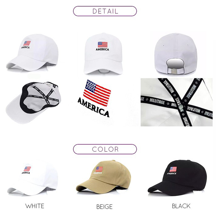 2015 New Style Wholesale China Custom 100% Cotton 3D Embroidery Baseball Cap With America Flag Logo
