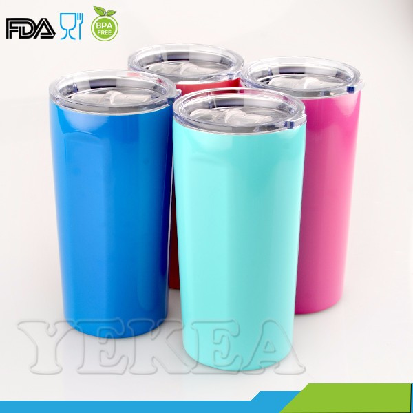 new powder coated double wall 20 oz stainlesse steel tumbler