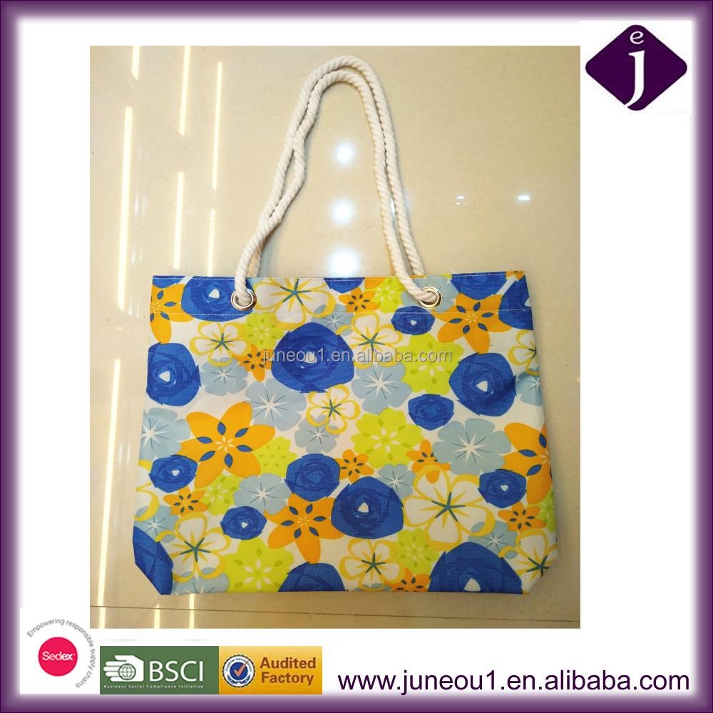 China BSCI Factory Shopping Bag Flower Printing Canvas Tote Bag Gift Bag