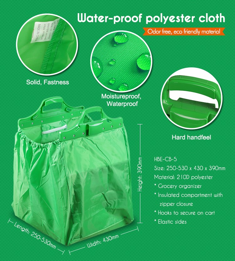 Waterproof heat preservation awesome vegetable shopping grocery trolley bag