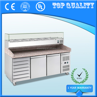 Three Door Commercial Pizza Prep Table Counter with Drawers