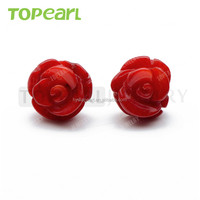 10mm Rose Flower Red Coral 925 Sterling Silver Stud Earrings Wedding Party Jewelry Gift for Women Girls SE218