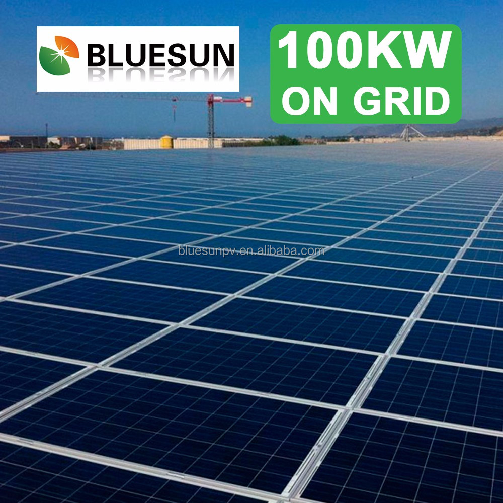 Bluesun solar power plant 100kw for commercial use on grid tied