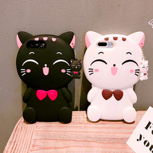 3D Lucky Cat soft Silicone Case for Apple iPhone 7 8 Plus X 6 6S Plus 5 5S SE Protective Back Cover