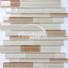 Backsplash wall 8mm thickness glossy Beige pearl bathroom inkjet strip glass mosaic tile
