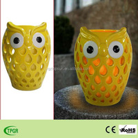 solar powered hand made ceramic owl animal shape solar light for home and garden decoration