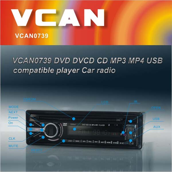VCAN0739 Detachable front panel Single-Din USB/SD/DVD/CD low price mp3 player made in china
