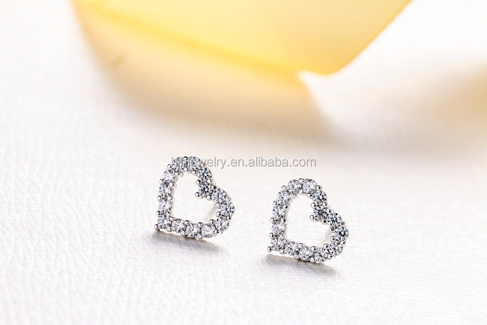 Dubai 24k Gold Jewelry Earrings 925 Silver Heart Shaped Design With Zircon Earring Women Jewelry