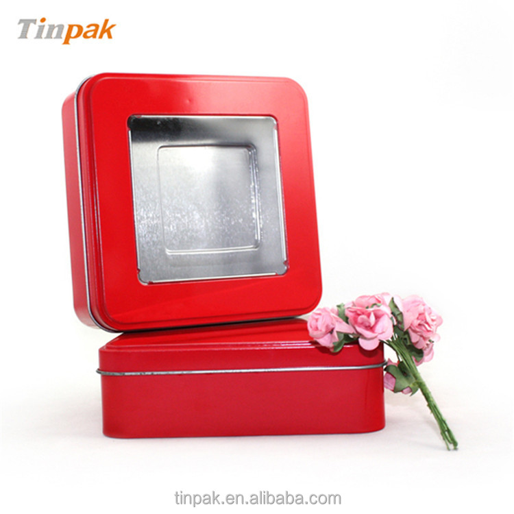 square window tin box, metal printed gift box for valentine