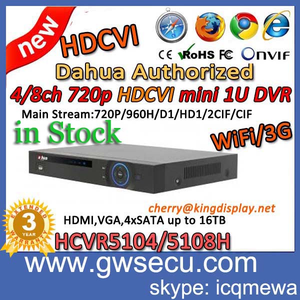 original dahua hdcvi dvr kit 4/8ch 720p hd wifi 3g hdcvi dvr hcvr5104h hcvr5108h with hdcvi camera hac-hfw2100s