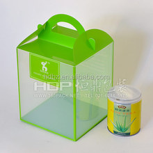 Fancy printed clear plastic gift box with hanger