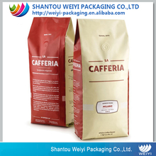 Flat bottom ziplock bag aluminium foil bag for drip coffee packaging /custom printing coffee bag with valve
