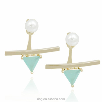 Fashion Exaggerated Triangle Pearl Earrings Beautiful Gemstone Long Grils Hangings Earrings