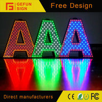led advertising building punching word signs