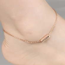 Marlary Wholesale Simple Square Charm Stainless Steel Body Jewelry Thin Chain For Women Anklet Chain