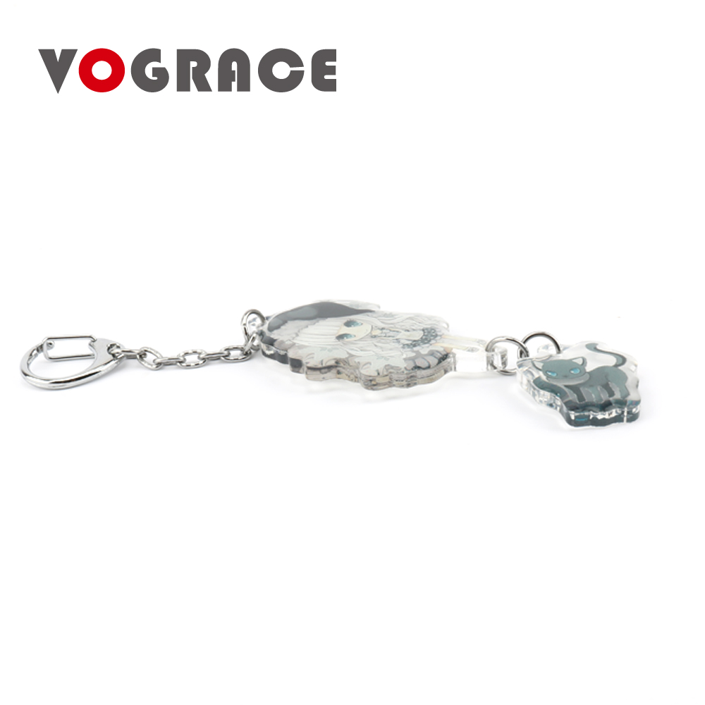 Vograce cheap personalized two side print transparent baigedi smooth edge anime acrylic keychain for promotion