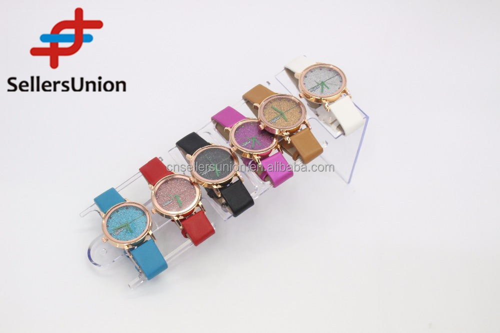No.1 yiwu exporting commission agent wanted Elegance fashion pu watches for girls