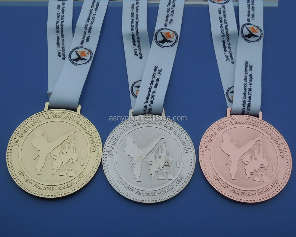 custom gold /silver /bronze awarded medal with custom ribbon