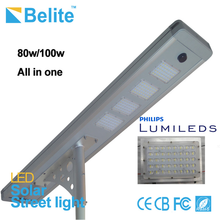 100 watt solar led street light for Major roadways docks and piers remote and rural location