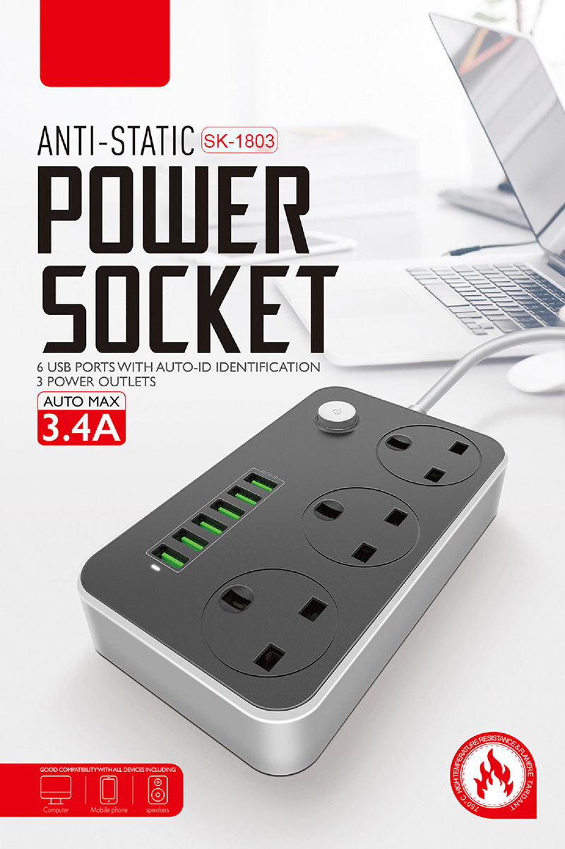 2500W 10A UK Power Socket Power Supply Extension Socket for Mobile Device