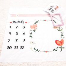 Custom Print Muslin Monthly Milestone Baby blanket machine photo blanket