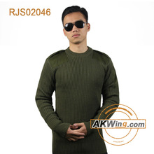 Sweater Commando Olive Drab Green 1/4 Zip Acrylic Military Style Seals