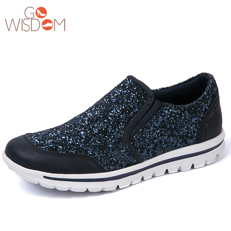 Factory supply causal comfortable glitter pu latest fashion shoes women
