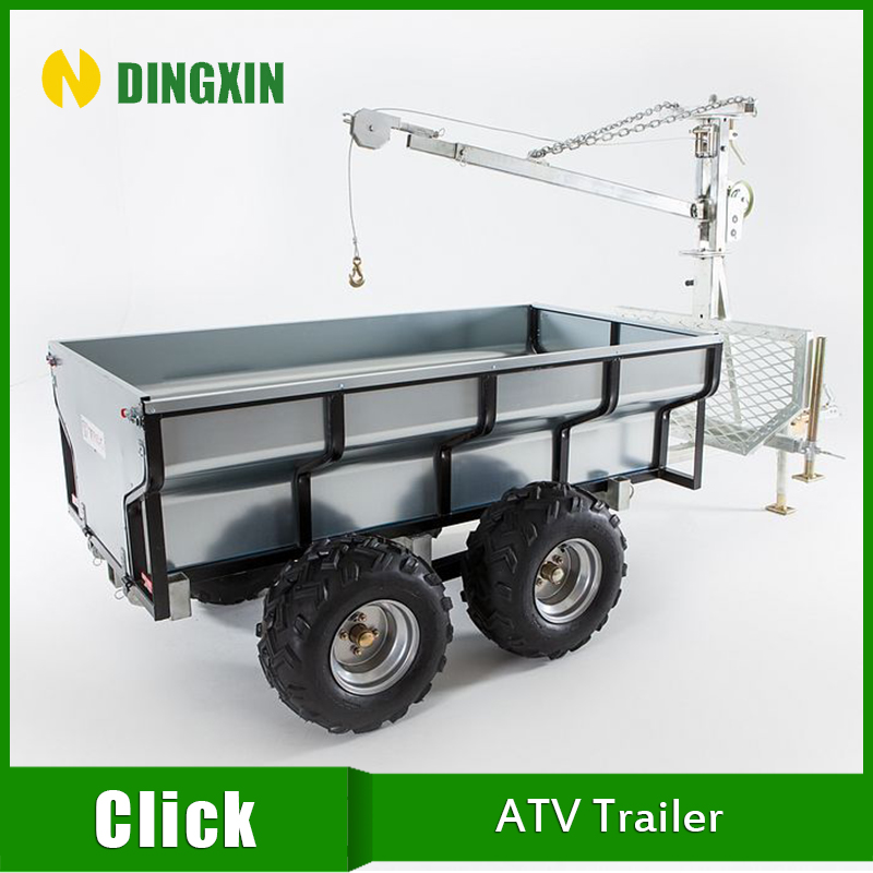 ATV implement Log trailer with manual or electric crane