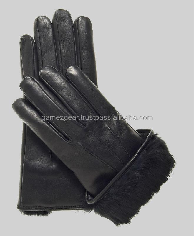 Leren handschoenen met bont gevoerd