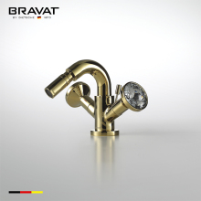 Lavatory gold plated waterfall brass basin faucet F32680G