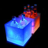 China wholesale beer wine champagne acrylic led custom ice bucket,led ice cooler